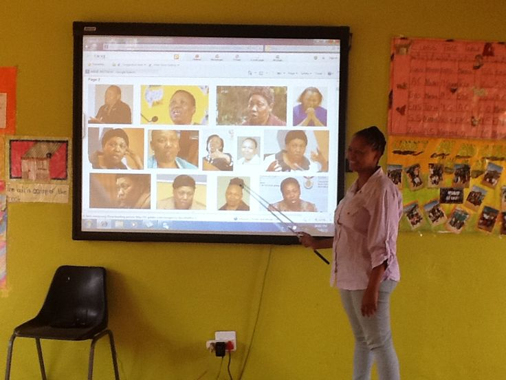 Training teachers on the use of the Smart Interactive Board at Besilindile Primary School.