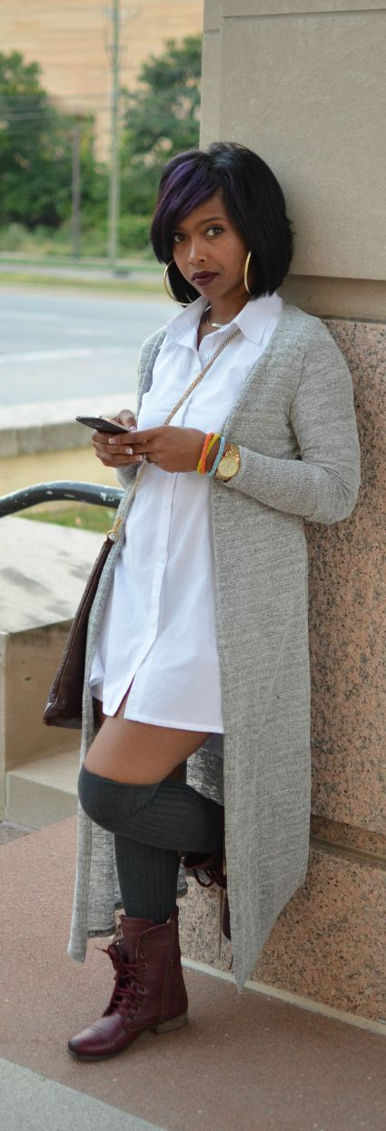 Pair long button up with kneesocks & boots & long cardigan