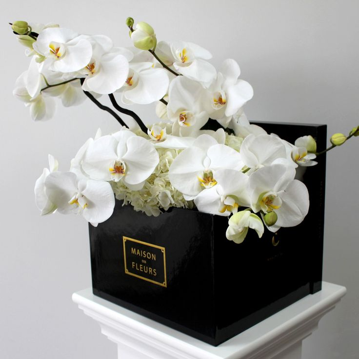 square box with orchidsMDF