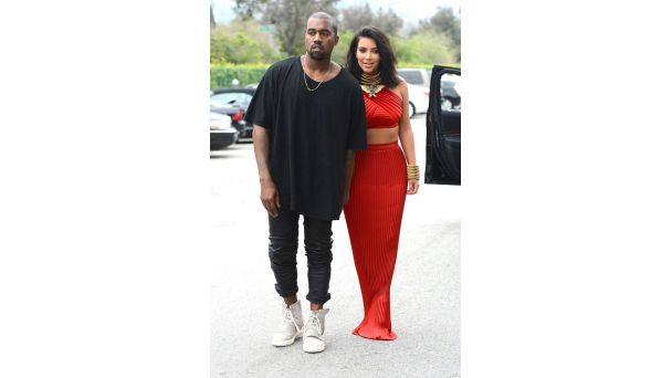 Out and About: Music Stars Take Over L.A. for Grammy Weekend   End of a Hair-a Kim Kardashian debuts her brand new bob and signature body-con halter top and long skirt at a pre-Grammy brunch with husband Kanye West. The pair make an appearance despite the fact that Kim's stepdad Bruce Jenner was involved in a fatal car accident in Malibu earlier in the day.