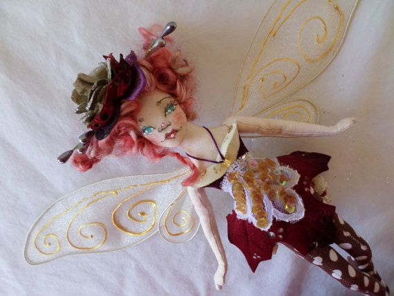OOAK Fairy Art Doll  Clara Bright Larkspurr  by paulasdollhouse