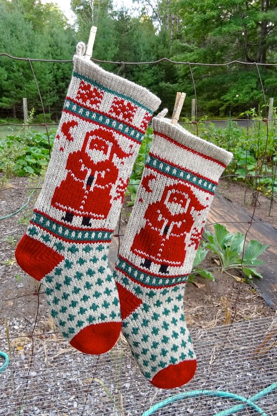 Downloadable SANTA Stocking Christmas Knitting by annieswoolens