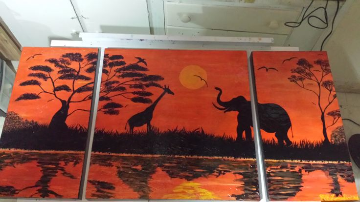 African Sunset 3pc on Partical Board finished in High Gloss