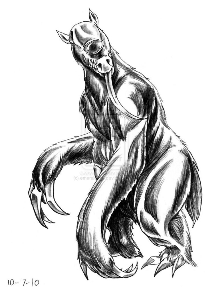 Mapinguari- Brazilian folklore/cryptid: a hairy, roughly humanoid creature described with one eye, a giant mouth on its stomach, and huge claws on its hands. many believe it is a relic of the giant ground sloth.