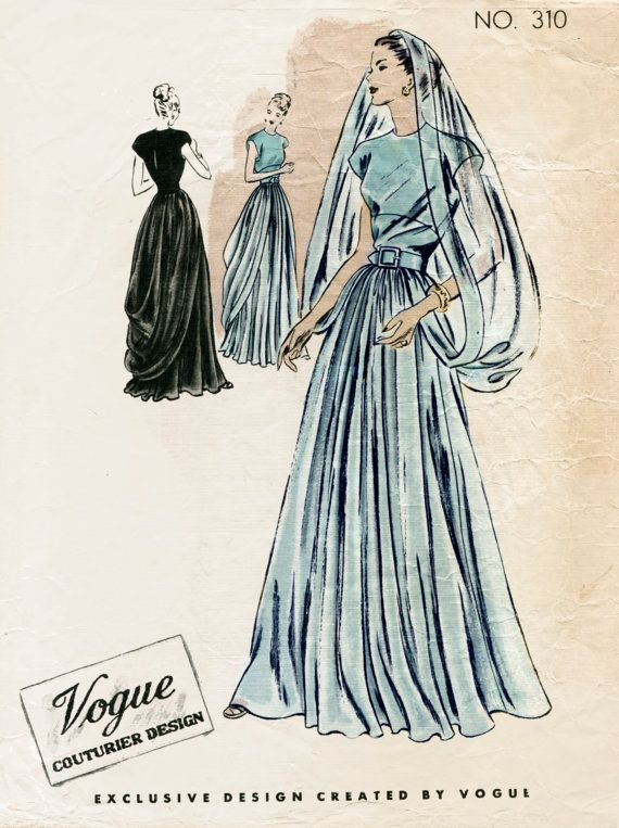 1940s 40s Vintage Sewing Pattern wedding dress evening ball gown with veil Couturier Bust 32 B32  repro