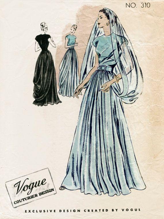 1940er Jahre 40er Jahre Vintage Schnittmuster Hochzeit Kleid Abend Ballkleid mit Schleier Couturier Büste 32 B32 Repro
