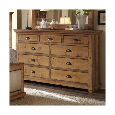 Progressive Furniture Inc Willow 9 Drawer Dresser Distressed Pine Mirror