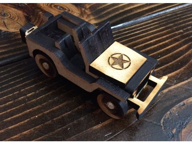 Willys MB simplified cnc/laser by NewPerfection 'Driving through the fire'