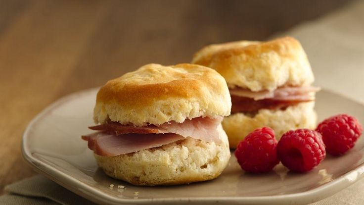 Mini ham biscuits are just the right size for a breakfast snack any time of day!