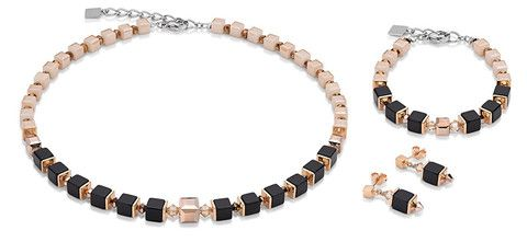 Geo Cube rose gold, ivory and black necklace, earrings and bracelet 4752_1013
