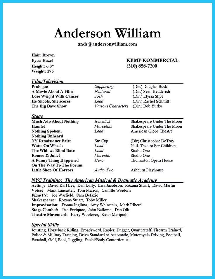 Impressive Actor Resume Sample To Make Acting Resume Template Acting Resume Job Resume Format