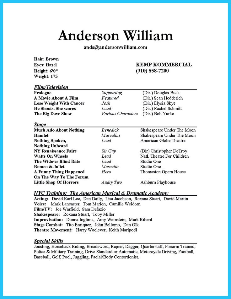 Beginner Acting Resume Sample
