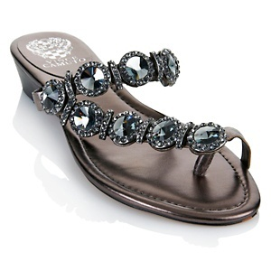 """Vince Camuto """"Imanal"""" Jeweled Leather Thong Sandal at HSN.com."""