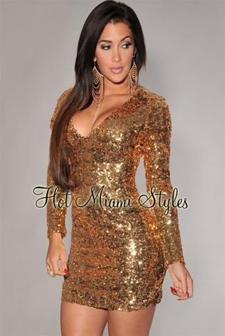 Gold Allover Sequined Long Sleeves Dress Womens clothing clothes hot miami styles hotmiamistyles hotmiamistyles.com sexy club wear evening clubwear cocktail party kim kardashian dresses