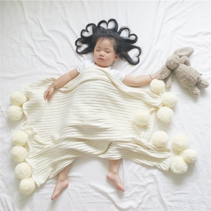 Baby Blanket For Newborns Super Soft White Pink Gray Knitted Blanket With Woollen Ball For Children Cute Cotton Baby Bed Linen