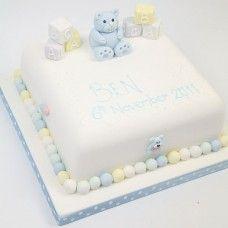 Blocks and Bear Square Christening Cake