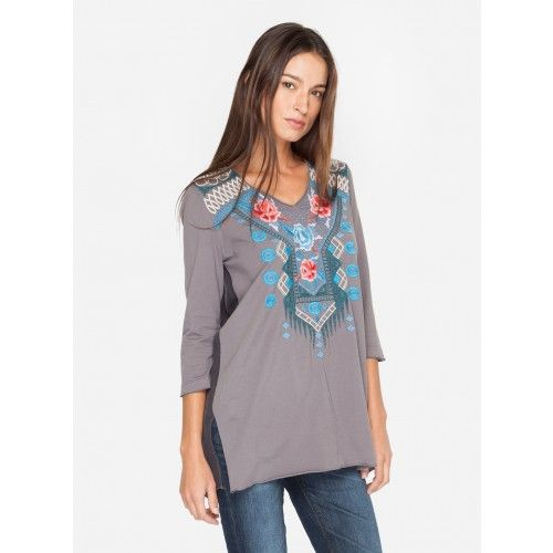 Tansy V-Neck Georgette Yoke Tunic It's no surprise we love a tunic for its versatility and ease. The JWLA TANSY V-NECK GEORGETTE YOKE TUNIC has a breezy silhouette as well as custom embroidery along the front and back, adding beautiful detail to a wardrobe staple. This will be your weekend favorite for months to come.   - Cotton And Georgette - V-Neckline, ¾ Length Sleeves - Signature Embroidery - Care Instructions: Machine Wash Cold, Tumble Dry Low
