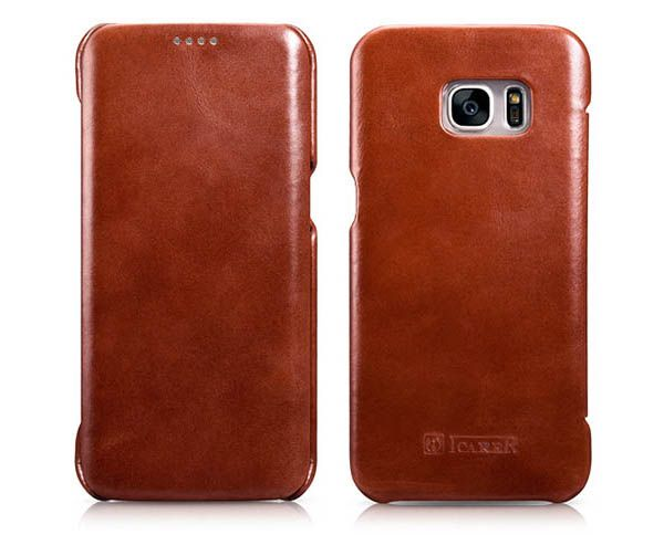 iCarer Samsung Galaxy S7 Edge Vintage Series Side Open Genuine Leather Case