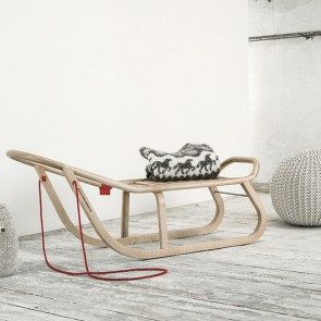 Sled wooden sledge with manual bended solid ashwood
