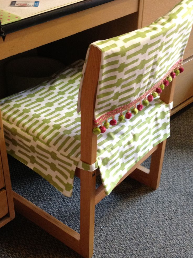 my roommate's mom made us these awesome desk chair covers...she also made us pillows of the same pattern!