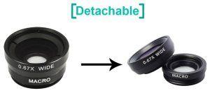 Este kit esta conformado por tres lentes diferentes, un Ojo de Pez 180º, un Gran Angular y una lente Macro, y su adaptador en forma de pinza para ajustar las diferentes lentes al objetivo de tu dispositivo.