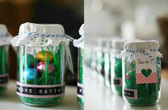 "-Fill the empty glass with Easter grass and chocolate eggs.  -Cover and seal the lid with cake lace.  -Masking tape stick to the glass and over the embossed label (here: ""Happy Easter).  -Punch a label from the box / construction paper, label and attach the cord to the glass .(google translate)"