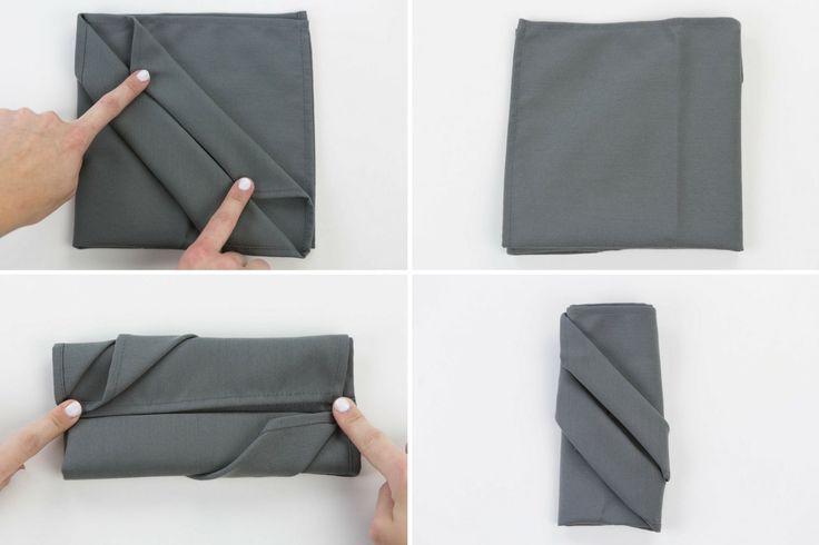 Pliage de serviette range-couverts: étapes 5à 8