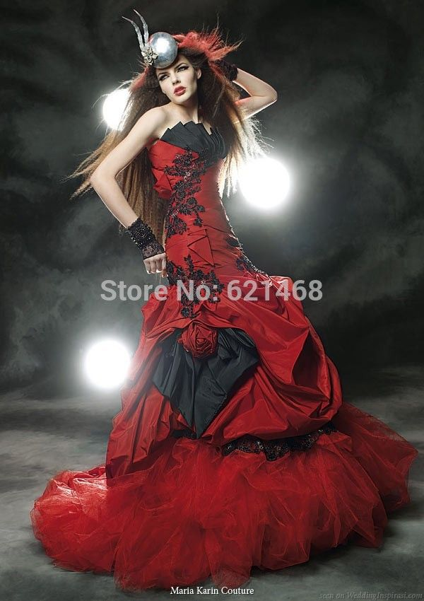 Cheap dress bridal gown, Buy Quality dress mannequins for sale directly from China dress shirt Suppliers: Unique Design Mermaid Red And Black Corset Feather Off the Shoulder Black Bridal Gown Gothic Victorian Wedding dress 201