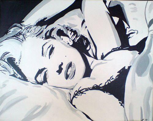 Blanco marilyn monroe Obras de arte ILUSTRACIONES y negro