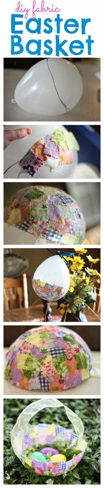 Adorable Fabric Collage Easter Basket made with a balloon!: