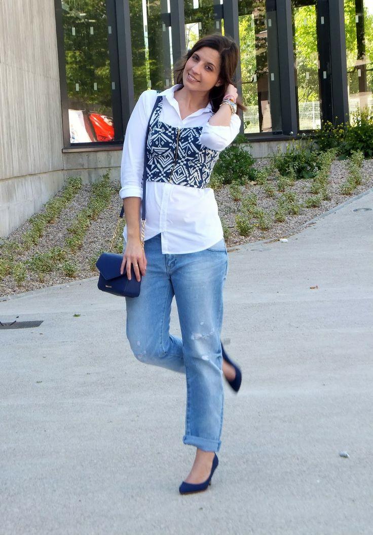 Cropped top y Boyfriend Jeans de Zara 3-6-2014  Zapatos #stradivarius