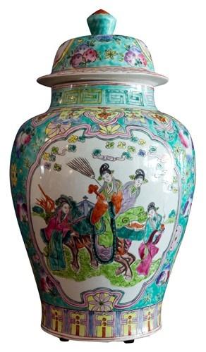 FAMILLE ROSE GINGER JAR WITH FIGURAL SCENES OF WOMEN    $295: Famill Rose, Rose Ginger, Ginger Jars Vas, Turquoi Ginger