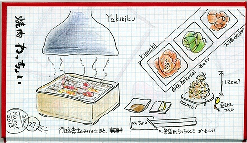 2013_04_01_yakiniku_01  数日前、カラーセミナーの後でいただいた焼き肉。  八尾市の焼き肉わっちょい。    Several days ago,I enjoyed roast meat with Immigration Lawyers after my color seminar.   we had a pleasant time!    For this drawing I used:  Pigma,Faber-Castell Polychromes  and KOkuyo field notebook    painting & photo copyright Belta(WAKABAYASHI Mayumi). all rights reserved.