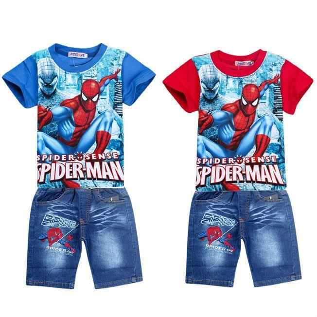 Розничная паук малыши одевая наборы, мода мультфильм детей летние рубашки джинсовые шорты, установленные, ребенка малыша мальчиков тройники трусов костюм