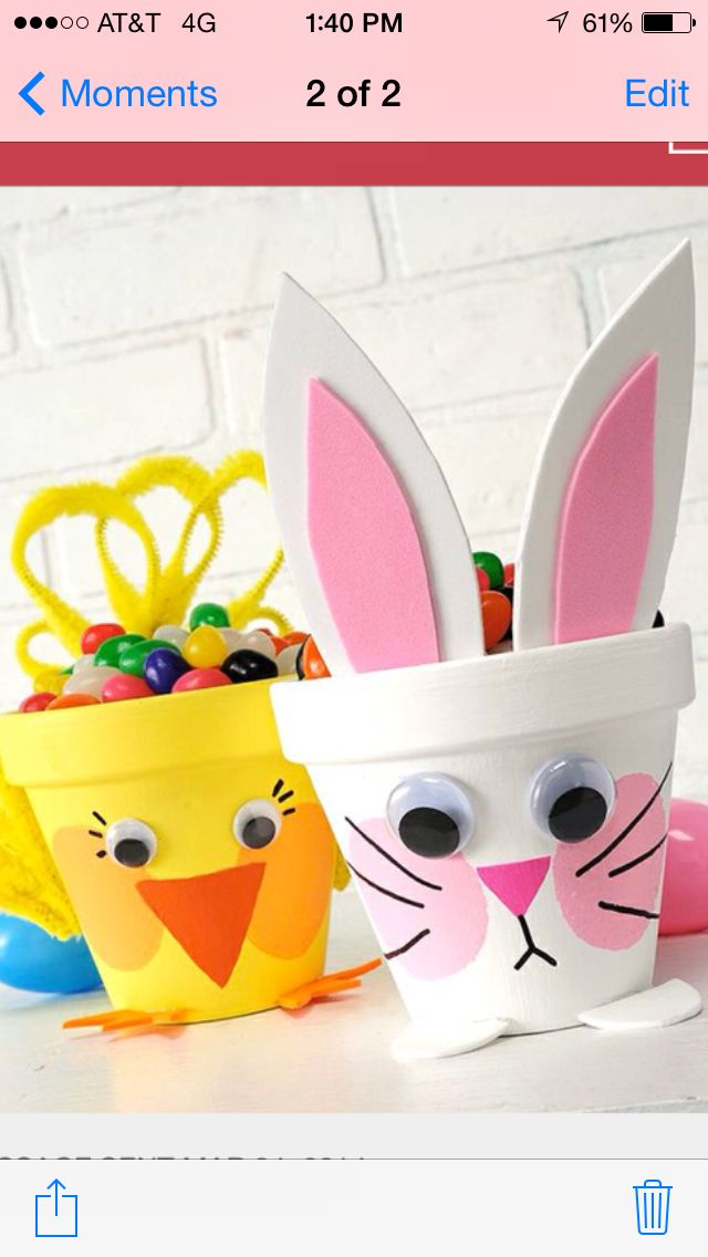 Either make these Easter pits with the kids or give them to a child as a gift then they can grow a nice spring plant. Cool idea for your lil craft critters