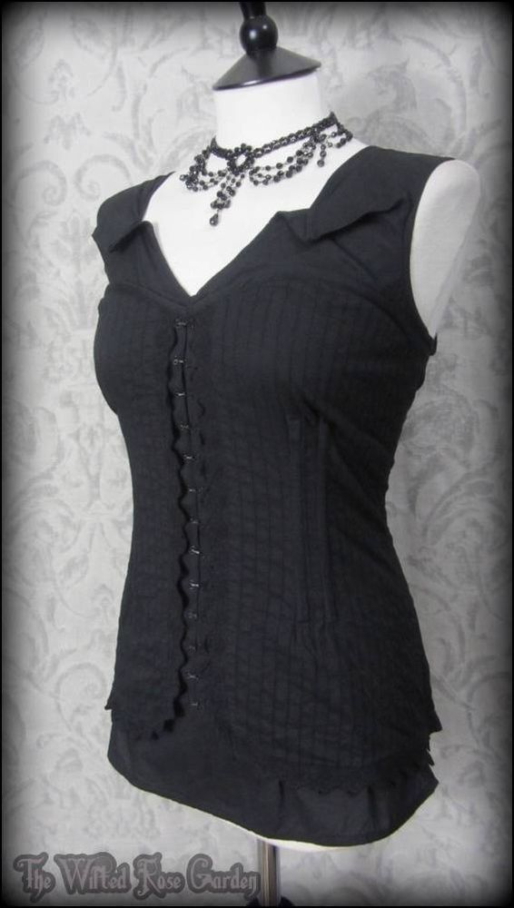 Gothic Romantic Black Cotton Lace Corset Style Top 16 Steampunk Victorian Vamp | THE WILTED ROSE GARDEN