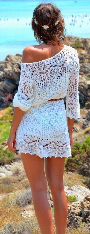 street style white crochet off-shoulder dress @wachabuy
