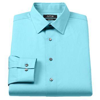 Men 39 s apt 9 slim fit stretch spread collar dress shirt for How to stretch a dress shirt