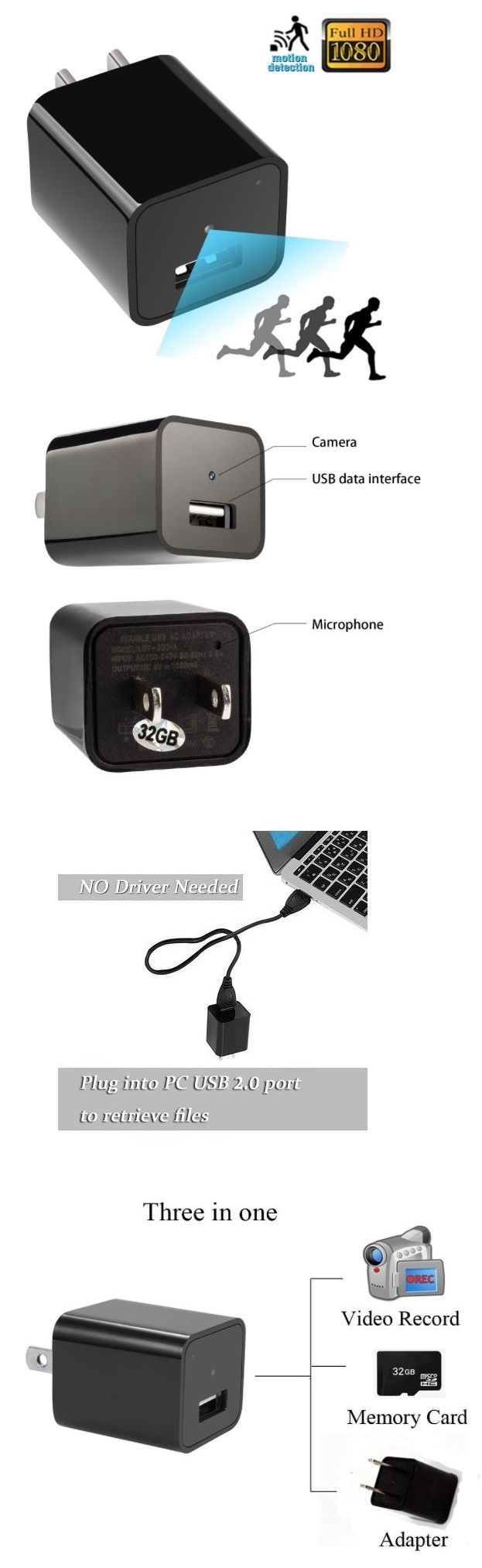 Surveillance Gadgets: Hd 1080P Usb Charger Hidden Camera Charger With Built-In 32 Gb, Motion Detection -> BUY IT NOW ONLY: $45 on eBay!