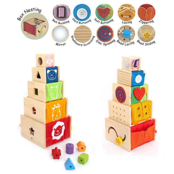 Artiwood Baby 5 Activity Stacker - $50  A multi-learning toy features 5 sequential-sized boxes. Children can play safe mirror, shape sorting, lacing, bead sliding, disc spinning, washboard scratching, belt buckling, hard buttoning, soft buttoning, shoe lacing, and zippering. Children can also stack them up to build a tower or nest them for compact storing. Two lacing strings are included. Fabric is Removable for Cleaning Suitable for 19 Months +