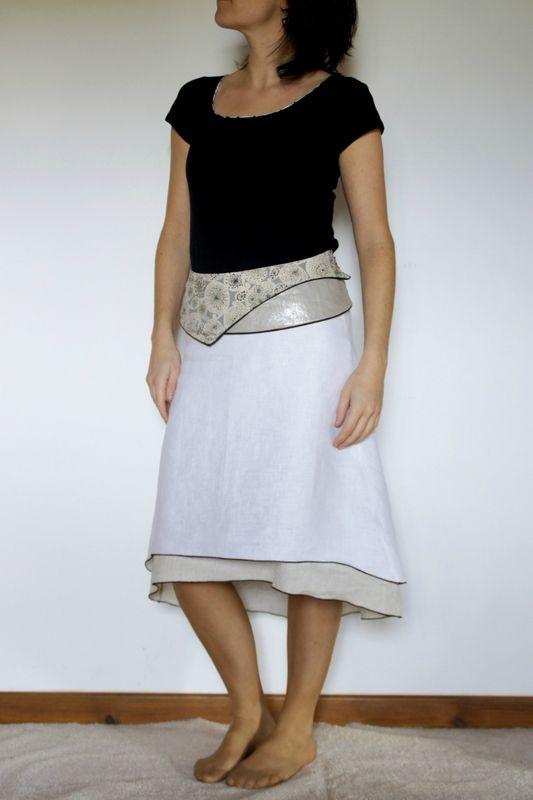 jupe et ceinture confectionn es en lin blanc optique http. Black Bedroom Furniture Sets. Home Design Ideas