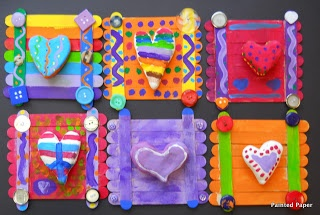 PAINTED PAPER: Crazy Hearts Club  little collages with model magic and craft sticks