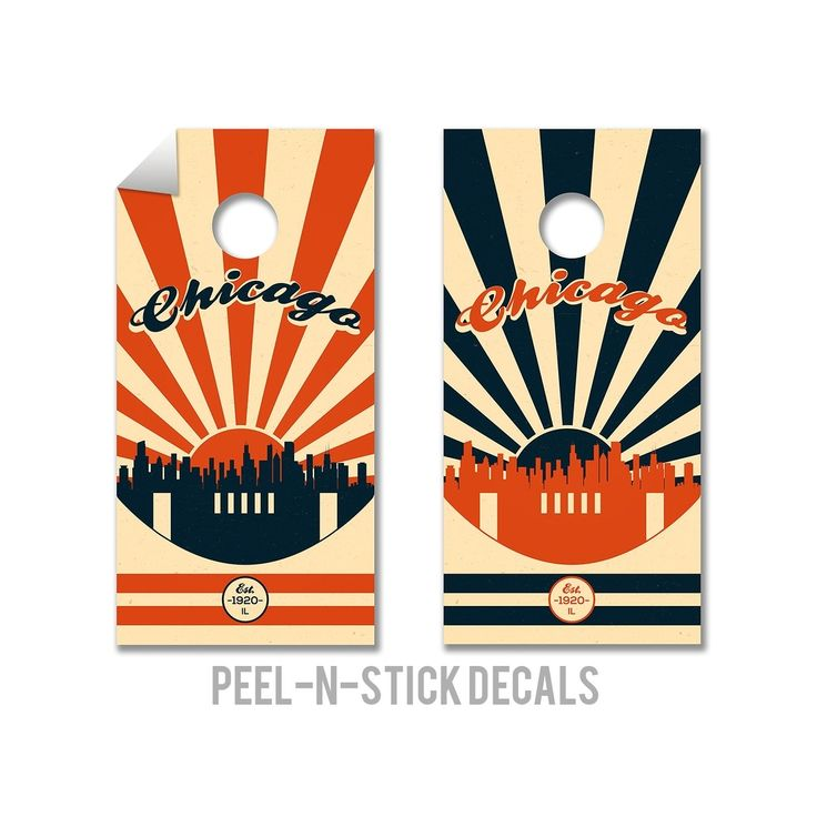 Chicago Bears Cornhole Board Decals, Natural
