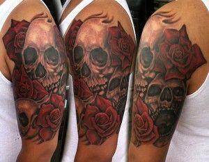 skull roses tattoos for sleeves