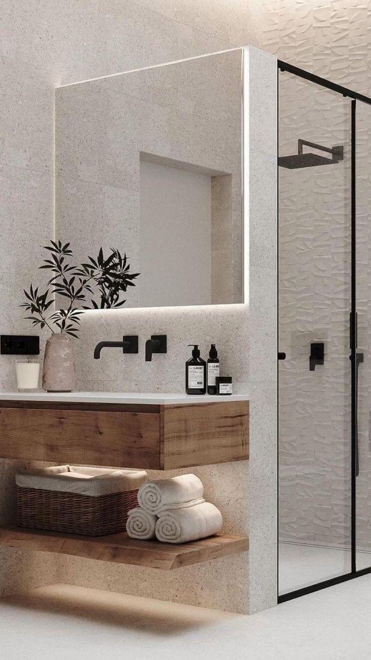 Home Room Design, Bathroom Interior Design, Modern Bathroom Design, Interior Decorating, Design Homes, Modern Design, Apartment Interior Design, Space Saving Bathroom, Small Bathroom