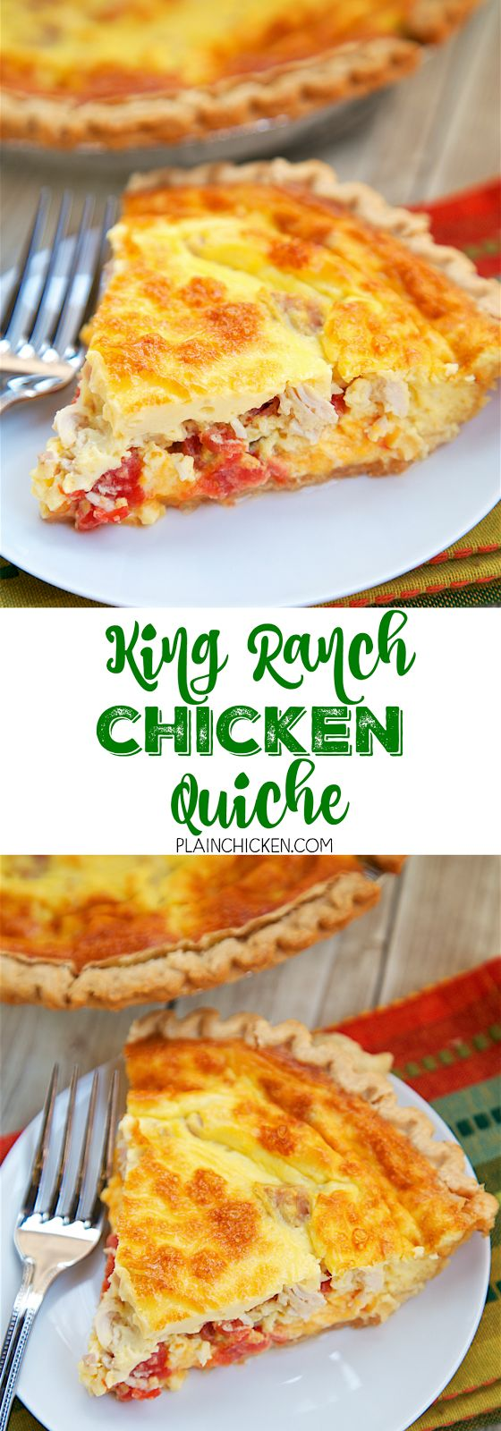 King Ranch Chicken Quiche - all the flavors of King Ranch Casserole in a quiche! Chicken, Rotel tomatoes, Velveeta, eggs and heavy cream baked in a pie crust. SOOOO good! We ate this for lunch and dinner the same day. You can make this ahead of time and f