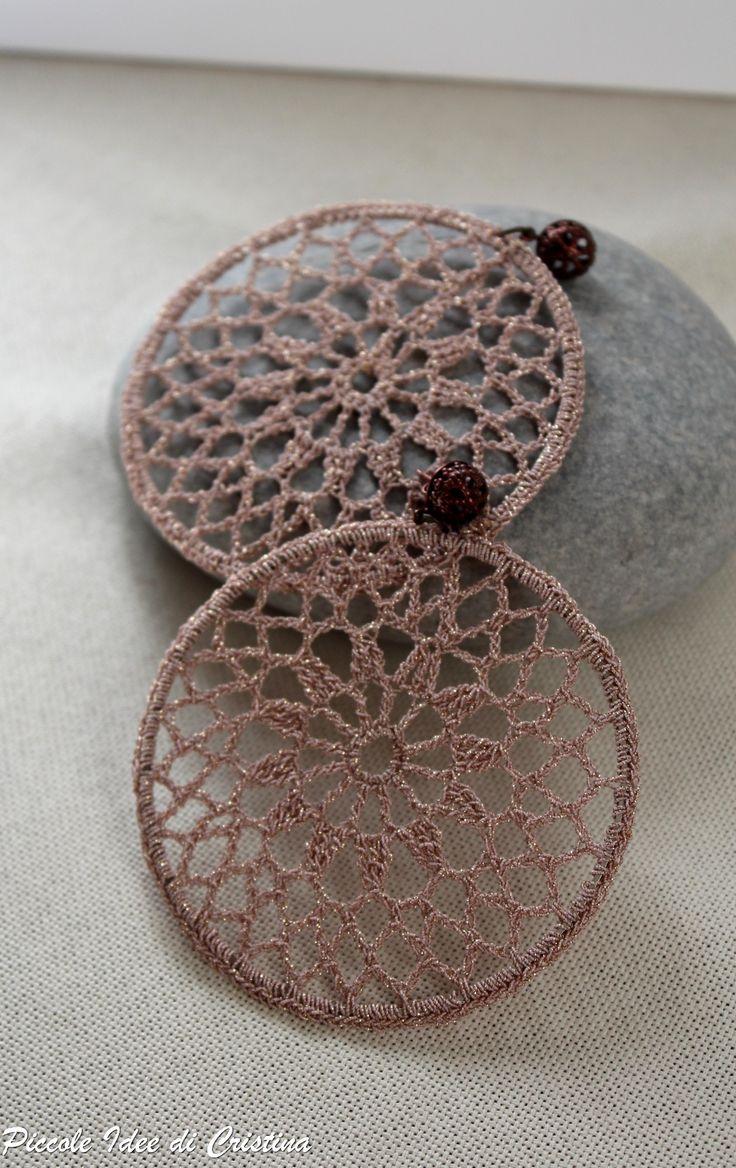 Orecchini ad uncinetto - lamè rosa antico