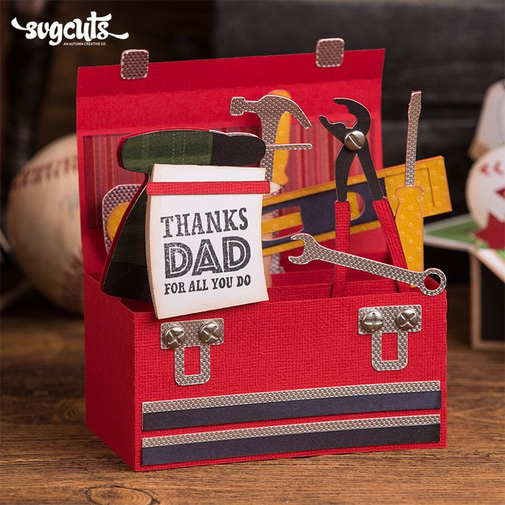 Father 39 s day box cards svg kit tool box box card 3d tool free
