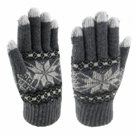 LOCOMO Men Women Winter Hand Warmer iPhone iPad Samsung Galaxy Note Capacitive Touch Screen Gloves Knit Snowflake Pattern Five Fingers FAF038GRY Gray One Size
