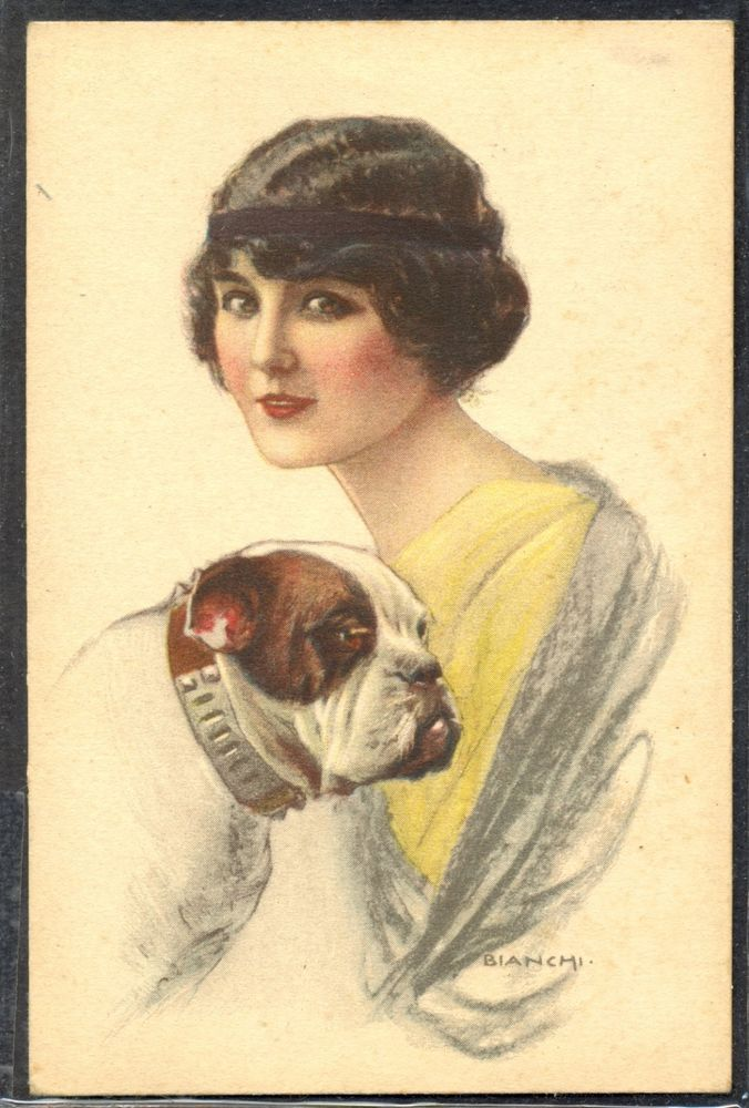 MZ019 ART DECO a/s BIANCHI BEAUTIFUL LADY FRENCH BULLDOG BOULEDOGUE